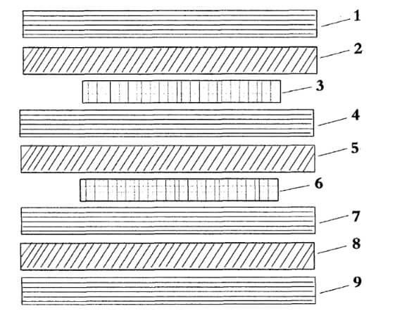 Skateboard deck veneer combination, Illustration V
